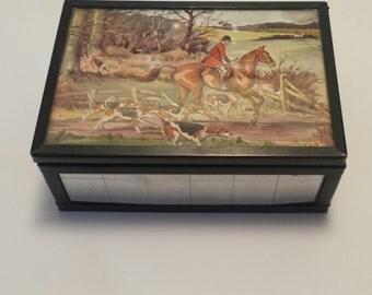 Vintage  English FOX Hunt JEWELRY Box, Trinket Box, Man Cave Decor, Vintage Jewelry Box, Fox Hunt Picture, Horse Decor