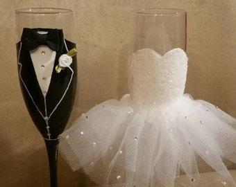Bride n Groom Toasting Glasses