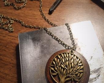 Wood Tree Pendant Necklace