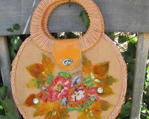 1950's Embellished Straw Purse, Beaded Flowers, Flocked & Jeweled Leaves Rockabilly Vintage