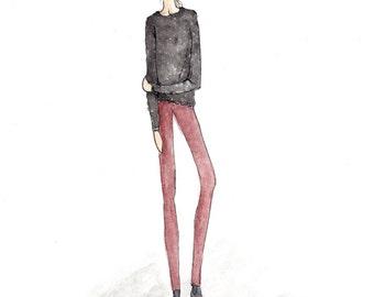 Custom Fashion Illustration, Custom Portrait From Photo, Custom Watercolor, Digital Download Ph