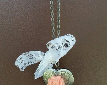 Silver Rose Locket with White Lace Bow