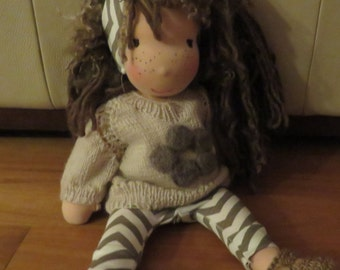 """Ready for shipping. Custom made one of a kind 16"""" waldorf doll. Comes complete with clothes"""