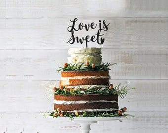 Sale LOVE IS SWEET  Wedding Cake Topper- Glitter Gold, Custom Color - wedding decoration-customizable Mr & Mrs cake topper- party decoration