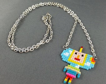 Katamari Cousin Necklace - Jungle Necklace Pixel Necklace Katamari Necklace Pixel Jewelry 8 bit Necklace Seed Bead Neklace Video Game
