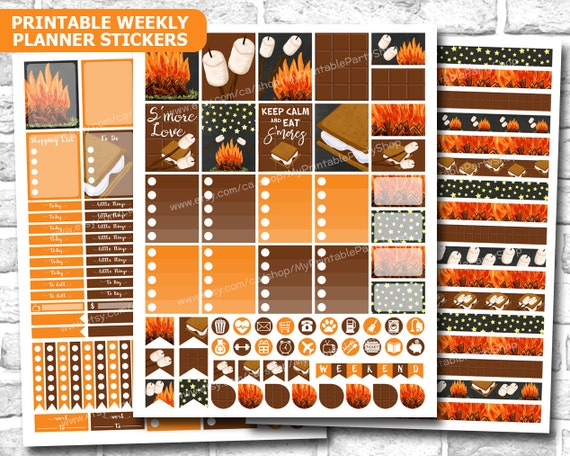 S'mores And Bonfire Fall Planner Stickers