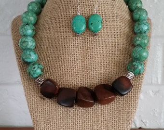 Turquoise Necklace, Wood Necklace, Turquoise Jewelry, Big Bold Chunky Necklace, Big Chunky Necklace, Chunky Jewelry Sets, Stone Jewelry