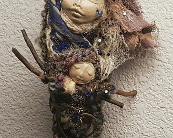 Abundance, Prosperity and Protection. Moon Goddess, assemblage art doll OOAK, Shabby Chic Decor,