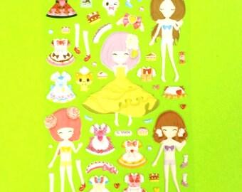 Paper Doll Dress Up Super Kawaii Kitschy Kyuuto Puffy Vinyl Sticker Set