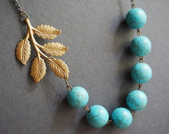 Statement Necklace,Beaded Necklace,Turquoise Necklace,Stone Necklace,Leaf Necklace,Boho Necklace,Bib Necklace,Bridesmaid Jewelry Set,Gift