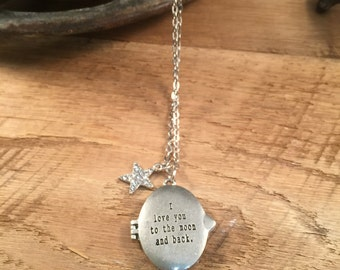 I Love You to the Moon and Back, I Love You Necklace, Locket Necklace, Silver Locket, Silver Engraved Locket, Engraved Locket, Quote Locket