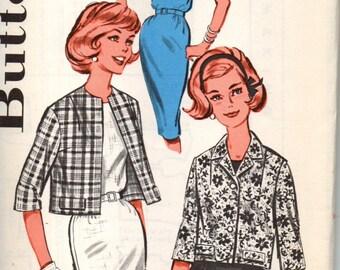 Butterick 9701  Bust 38 Sheath Dress Jacket Sleeveless Three Quarter Sleeves Notched Collar Cardigan 1960s