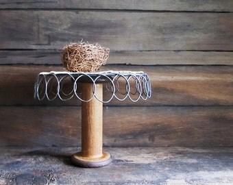 Repurposed Vintage Wood Textile Spool Display Stand