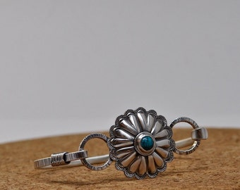 In the Tradition -- Concho Bracelet handmade sterling silver turquoise