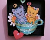 Cat Art in a box, Teacup art ,Shadowbox art, Whimsical ,Nursery art , Diorama, sandy mastroni,illustration , Wall art collection,