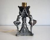 1930s Art Deco Lady Lamp Cast Metal Spelter Flapper Girls Silver Finish Nude Women Home Decor Figural Table Lamp Nuart or Frankart Era