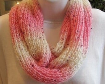 HANDKNIT Pink and White Infinity Scarf with Sequins