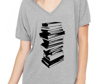 STack of Books Oversized Slouchy V Neck Tee Loose tshirt shirt