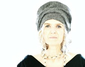 Grey/Black Houndstooth Tweed Wool Hat with Liberty of London Lining