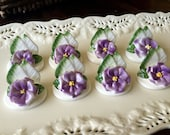 Set of 8 Bone China Handmade Hand Painted Placecard Place Card Holders Name Holder Wedding Purple Flower Floral Spring Easter TYCAALAK
