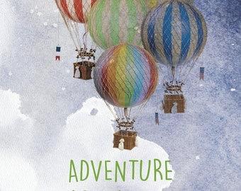 50% OFF Regular Price. Adventure Awaits Print in 11x14, Nursery decor, Gender Neutral, Playroom, Children's room, Different Sizes
