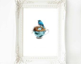 Birds nest with eggs in a teacup print, blue home decor, A4 giclee
