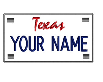 2 (two) ANY STATE License Plate Style Custom Embroidered Name Patches Patch Customized Personalized Tags Tabs Iron on Sew on or Velcro Funny