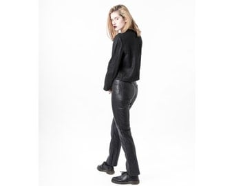 LINEN CROP top black minimal long sleeves shirt Small / Medium / Large better stay together