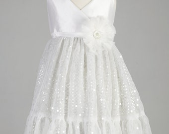 White Halter Girls Dress Flower Girl Dress Special Occasion Dress White Halter Sparkle Dress Size 5