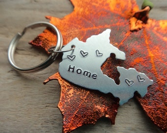 Canada Home Stamped Keychain- Canadian Country Metal Tag Keychain- Home Love Canada Tag Military Travel