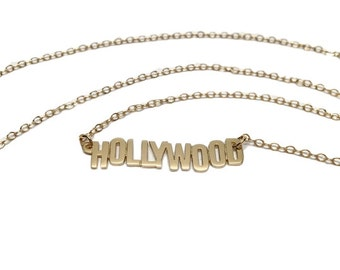 Gold Hollywood Necklace | Hollywood Sign Necklace | Hollywood Necklace by Sarah Cecelia