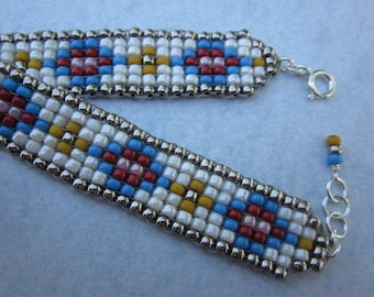 Aztec pattern hand-loomed white blue red yellow square stitch bracelet