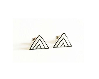 Hand Drawn Tiny Mountain Earrings