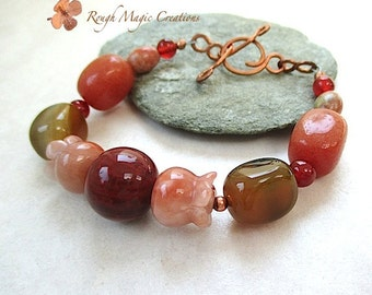 Chunky Gemstone Bracelet Earthy Red Orange, Peach Stone Bell Flower, Autumn Jasper Carnelian Agate, Copper Toggle Clasp, Gift for Women 202a