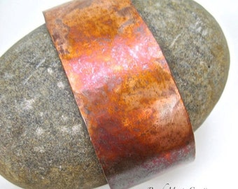Rustic Copper Cuff, Unisex Bracelet, Primitive Metal, Mens Jewelry, Gifts for Women, Present for Wife, Gift for Husband, Gift for Him or Her