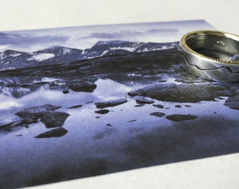 Custom Modern Mountain Ring, 7mm band, Handmade with your choice of recycled Silver, Gold, Palladium or Platinum, Mountain Wedding Band