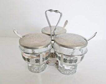 Mid Century Condiment Caddy Set, Libbey Glass Trio, Jam Jar Relish Sauce Dishes, Centennial Lids, Buffet Serving jar w spoons Black White