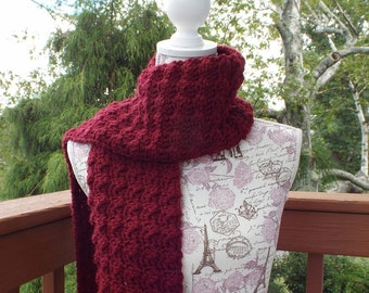 Burgundy Wine Crochet Scarf, Womens Neckwarmer, Oversized Scarf, Long Winter Scarf, Fall Scarf, Chunky Scarf, Winter Accessory, Gift For Her