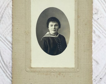Antique French Photo Woman Cabinet Card Instant Relative Black and White Photograph