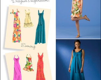 OOP Misses' Day or Evening Dress Patterns, Sizes 6 -8 -10 -12 -14 -Simplicity 2582 Sewing Pattern - Dress with Bodice Variations UNCUT