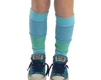 Leg Warmers for Kids in Frosty Blues - Pale Blue Aqua - Recycled Sweaters - Eco Friendly