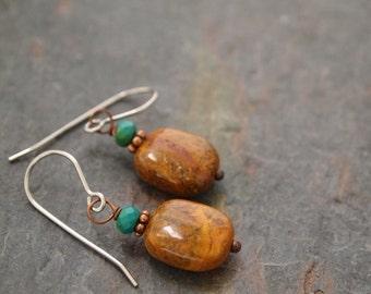 Turquoise and Cherry Creek Jasper Earrings