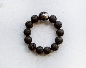 Black Lava Bracelet / Minimal Bracelet /