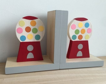 Bubblegum Machine Bookends, Colorful, Sweet Nursery, Colorful Kids Decor, Colorful Nursery, Candy Nursery, Children Bookends, Wood Bookends