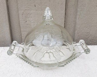 1950s Jeannette Glass Baltimore Pear Covered Butter Dish, Round Cheese Handled Plate Dome Lid