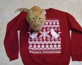 Meowy Christmas - Ugly Christmas Sweater, cat lover gift, funny sweatshirt, holiday sweater gift, cats, graphic tee, funny tshirt, Cat shirt