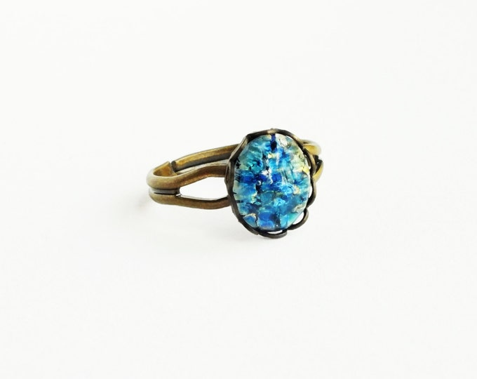 Blue Opal Ring Vintage Royal Blue Glass Ring Harlequin Fire Opal Ring Antique Brass Adjustable Small Blue Stacking Ring