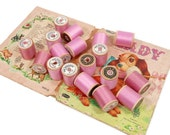 Vintage Pretty PINK & Mauve Sewing Thread | 18 Wooden Spools | Sewing Supplies | 2 Colors | Star Mercerized Cotton | American Thread Company
