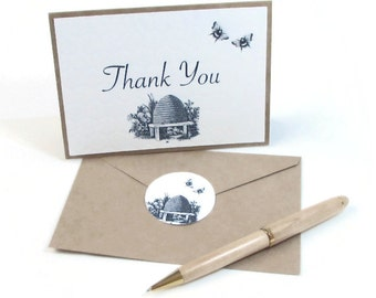 Thank You Card Set - Small Thank You Cards - Thank You Cards Bulk - Wedding Thank You Cards - Baby Shower Thank You - Honey Bees -