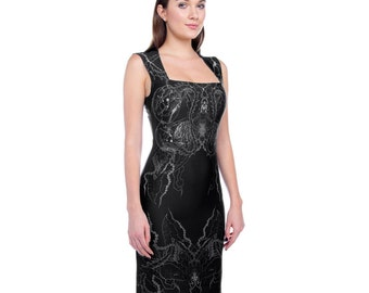 Theca futuristic printed bodycon dress from Alien Botany